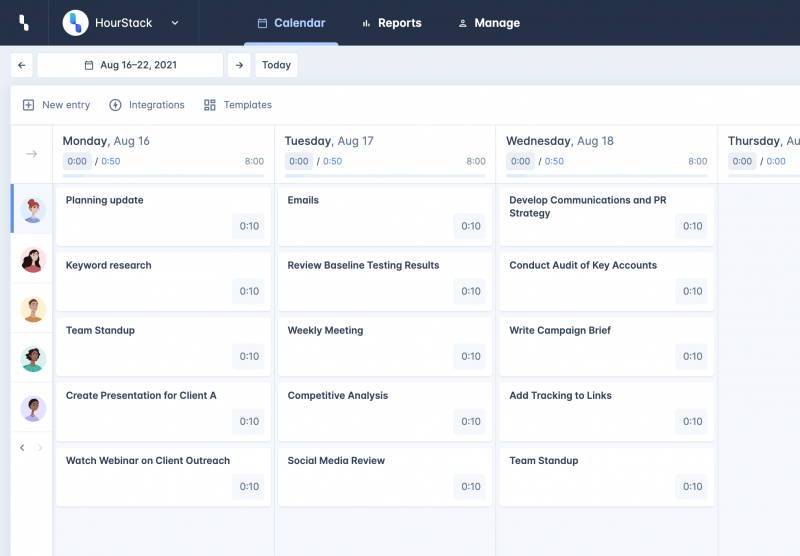 HourStack application screen