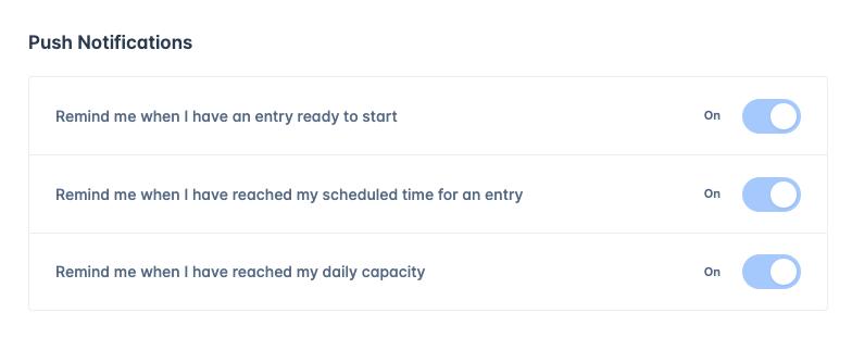 Web based notifications screen 1