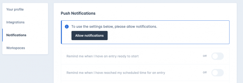 Web based notifications screen 3